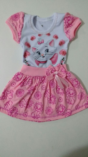 vestido infantil gata marie - temático c/ mangas