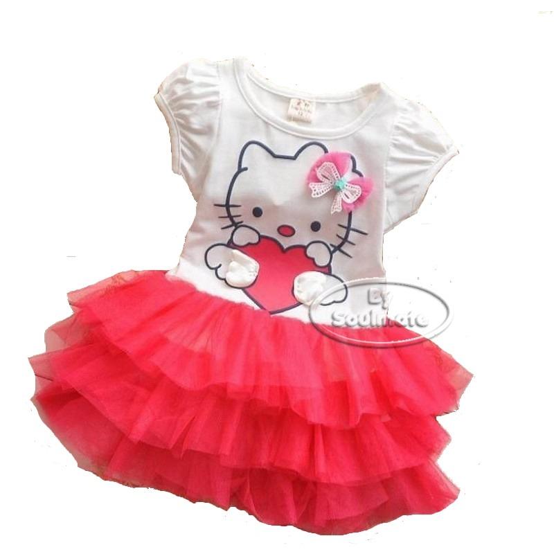 vestido infantil hello kitty vermelho festa passeio promoção. Carregando  zoom. ce129f4557b