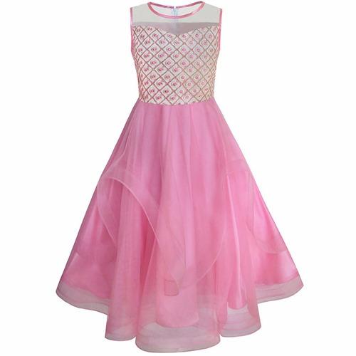 vestido infantil juvenil longo festa casamento daminha rosa