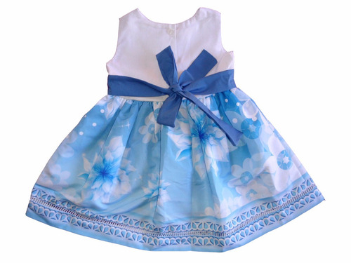 vestido infantil luxo floral azul 8-12 anos