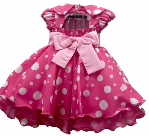vestido infantil luxo minnie minei rosa e 2 tiaras promoção