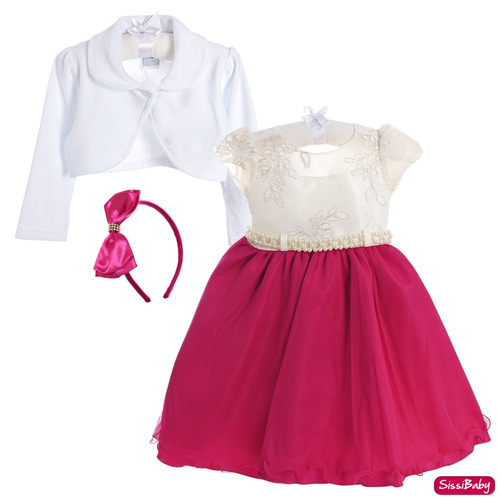 vestido infantil masha realeza barbie pink bolero promoção