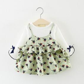 5cbd17481f Vestido Infantil Menina Estampado Branco E Verde Pássaros