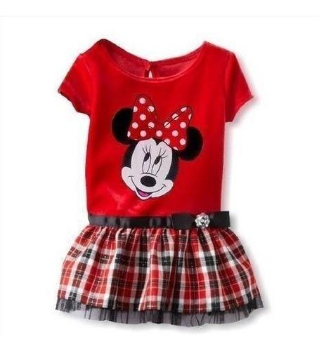 vestido infantil minnie xadrez vermelho cintinho meninas