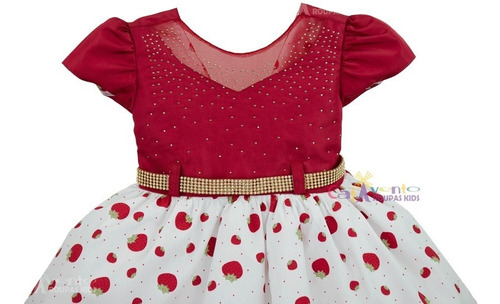 vestido infantil moranguinho glamour menina bonita promoção