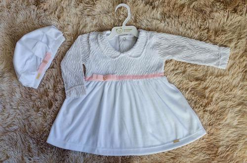vestido infantil para batizado com acessorio, pronta entrega