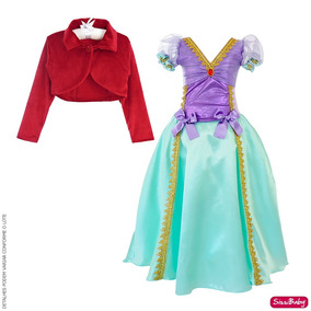 8c9993759afa59 Vestido Infantil Pequena Sereia Ariel Festa Luxo E Bolero