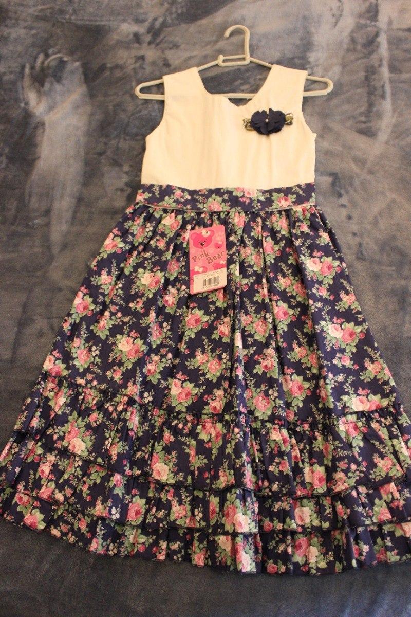 c6c27d647f1d vestido infantil pink bear floral azul - tamanho 10 - novo. Carregando zoom.
