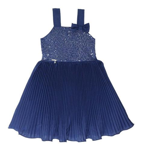 vestido infantil plissado azul katitus 1409
