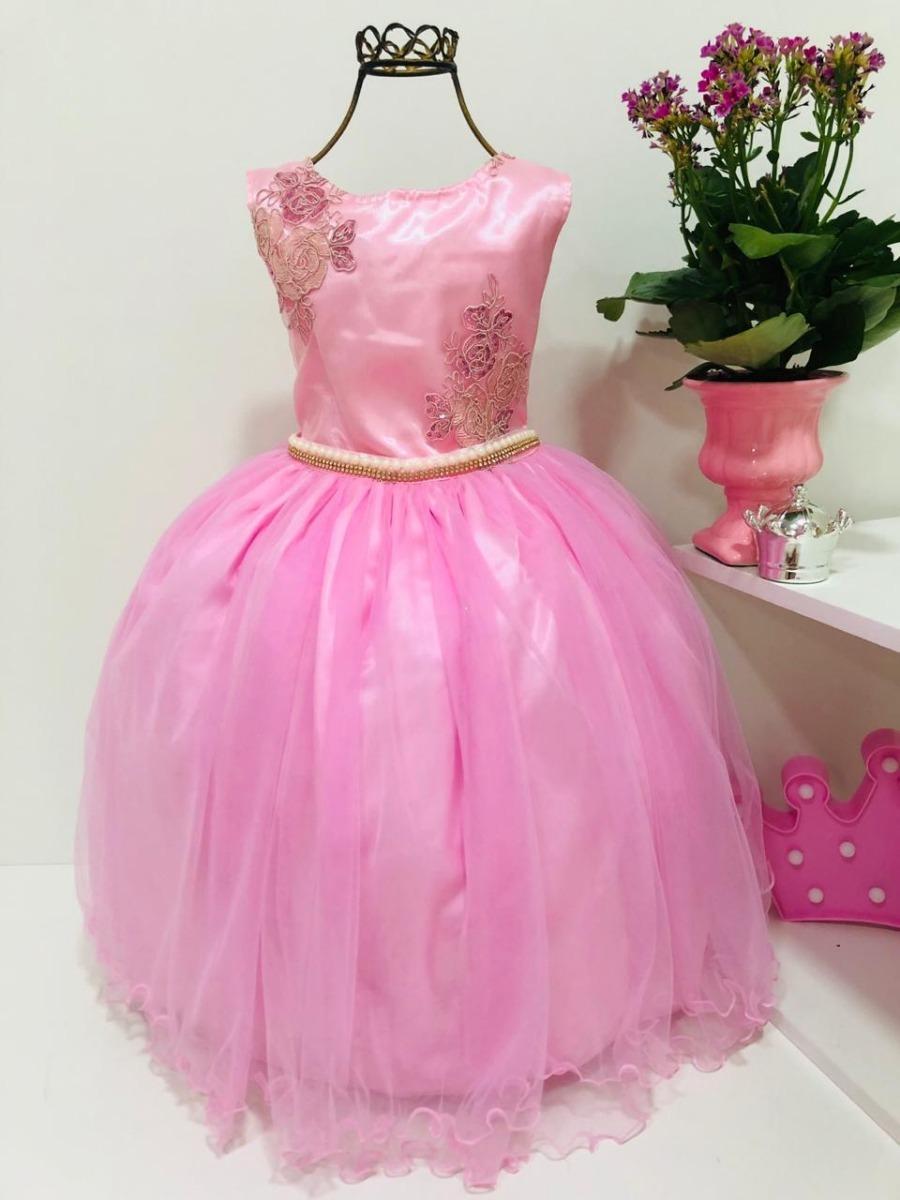 21e59b1298 vestido infantil princesa aniversário rosa luxo festa. Carregando zoom.