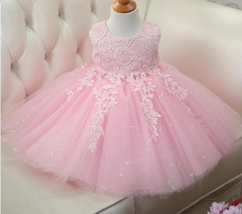 f9c591af8 Vestido Infantil Princesa Festa Daminha Casamento Rosa - R$ 84,99 em ...