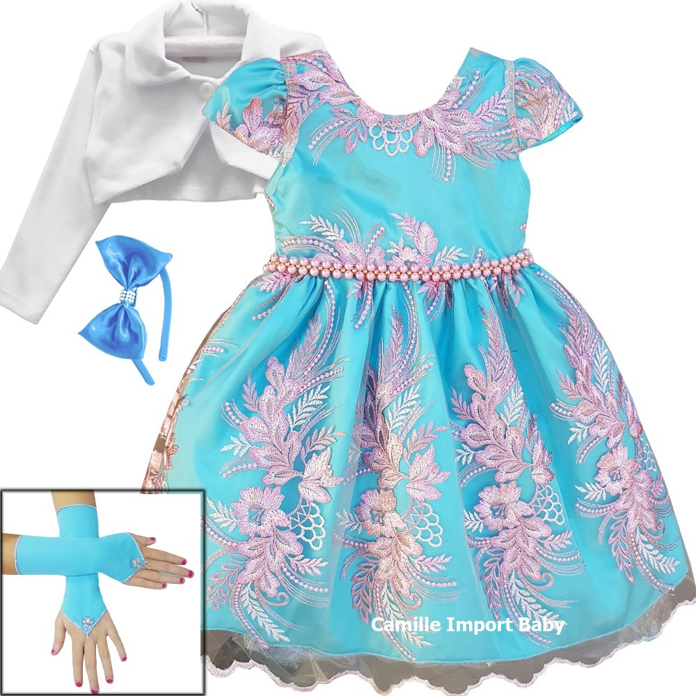 Vestido infantil de luxo azul