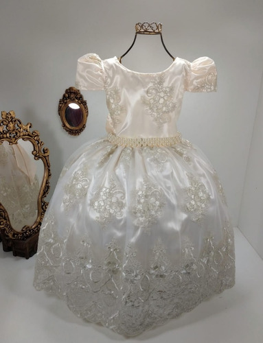 vestido infantil realeza off-white