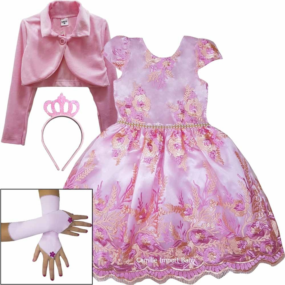 25ca51d18d vestido infantil rosa luxo tema festa realeza princesa e kit. Carregando  zoom.