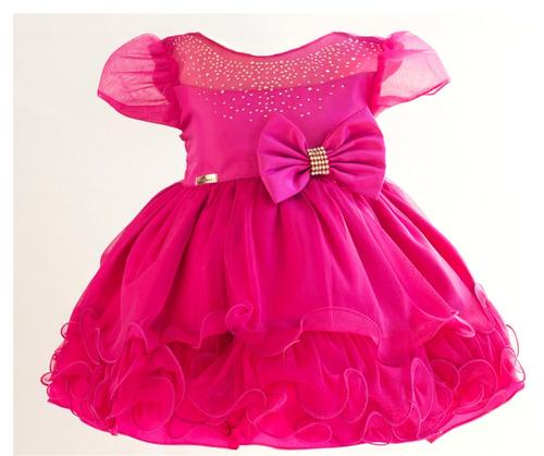 vestido infantil rosa pink festa