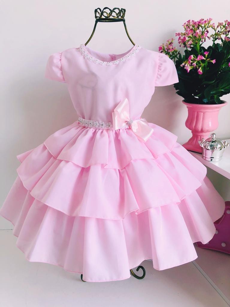 509943a4c5 vestido infantil rosa princesa luxo aniversário casamentos. Carregando zoom.