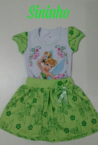 vestido infantil sininho thinker bell - temático c/ mangas