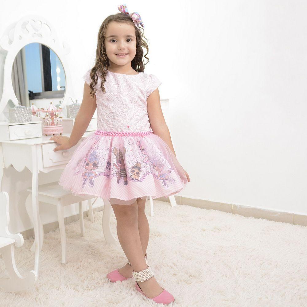 b90ddeebe2 vestido infantil tema lol surprise com tule rosa. Carregando zoom.