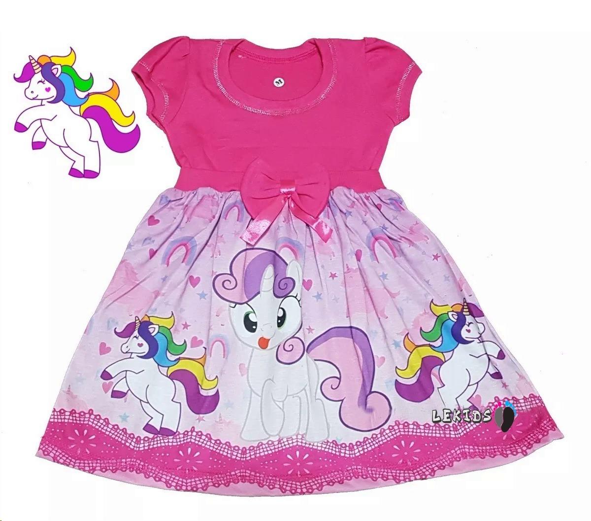 Vestido Infantil Tema Unicórnio Rosacriançaaniversário R 3900
