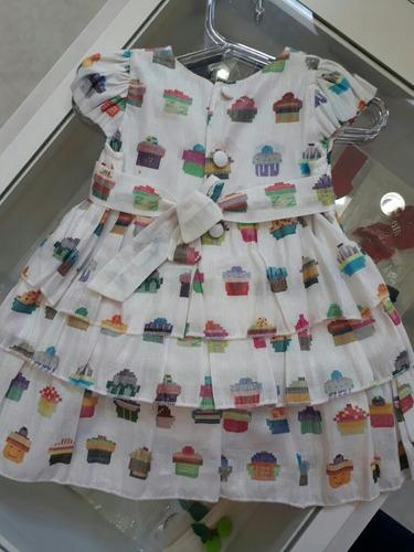 vestido infantil upiuli cupcake c/ calcinha
