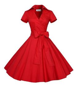 Vestido Informal Estilo Vintage Con Falda Acampanada Pmujer