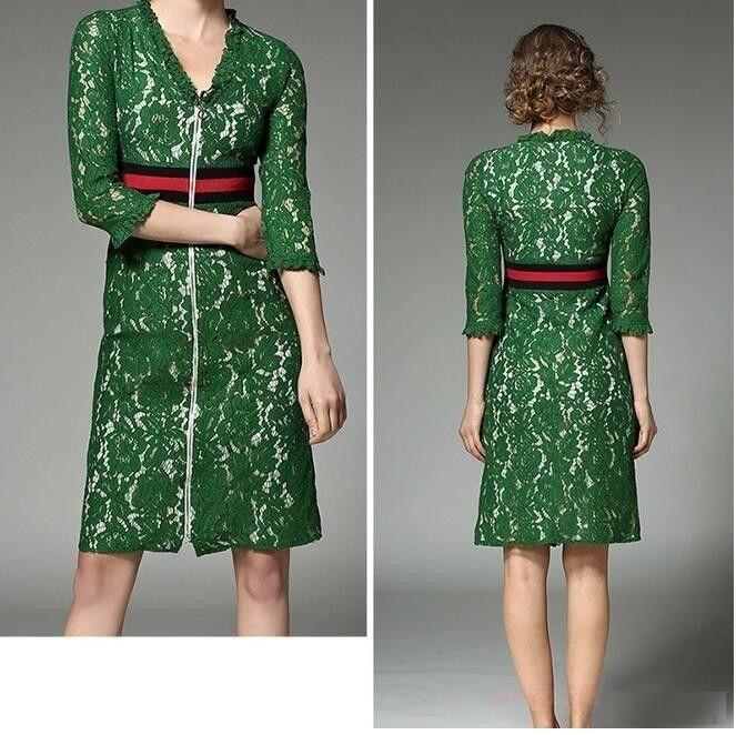 Vestido verde encaje gucci