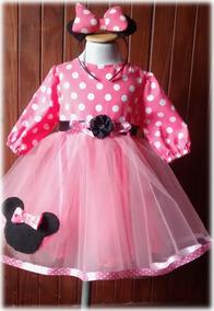 Vestido Inspirado Minnie Mouse Vincha De Regalo Precioso
