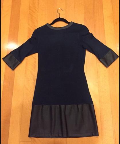 vestido ivonne azul marino con polipiel