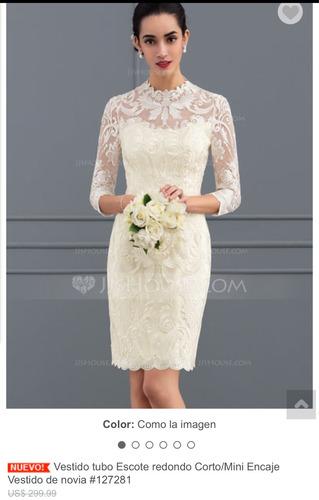 vestido ivory corto/manga 3/4 ideal para novia civil