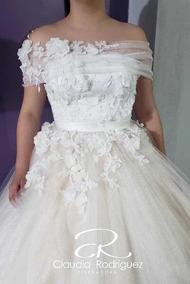 Vestido Ivory De Xv Flores 3d