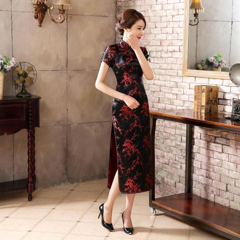 orden navegar por las últimas colecciones Donde comprar Vestido Japones Longo G Oriental Cheongsam Luxo Fenix C490