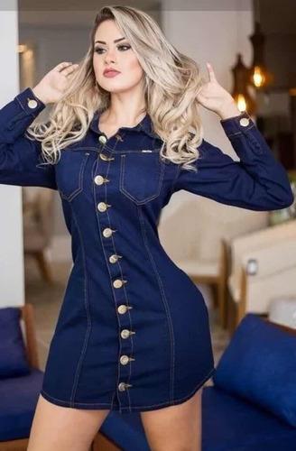 vestido jaqueta jeans feminino max estilo blogueirinha botão