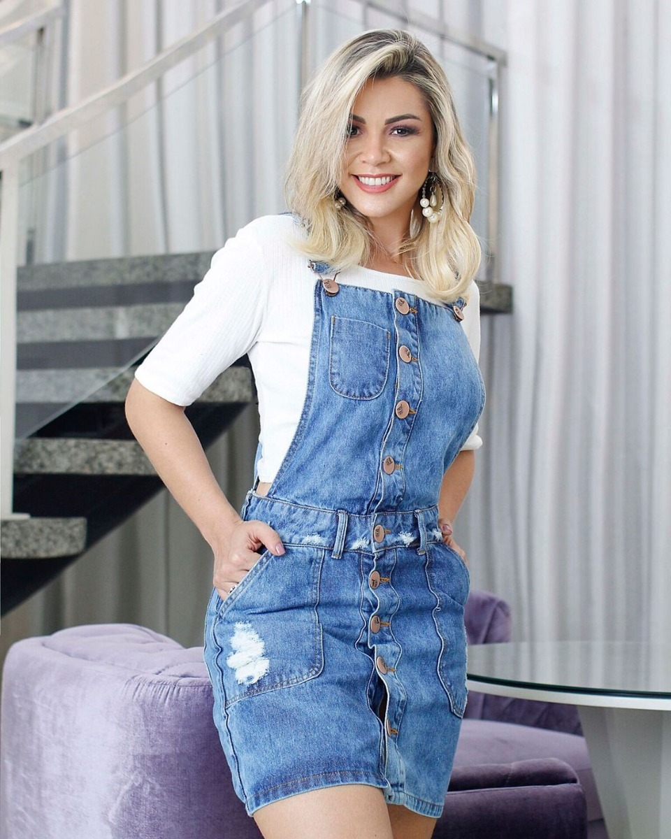 fec8f46dc vestido jardineira jeans s/ lycra feminino vintage salopete. Carregando zoom .