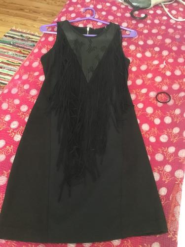 vestido jazmin chebar negro con pechera de cuero y flecos t1