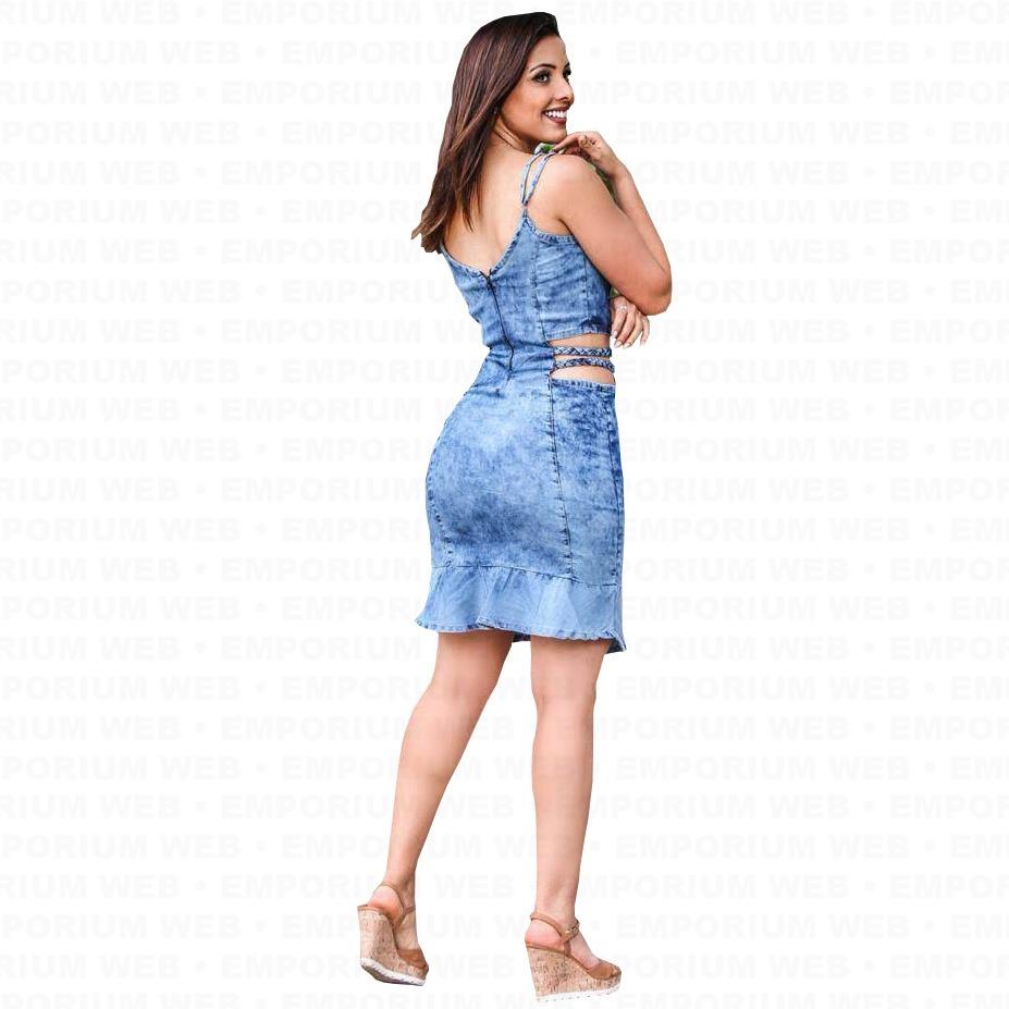 9a9cec370 vestido jeans alça trançado tendência moda mulher poderosa. Carregando zoom.