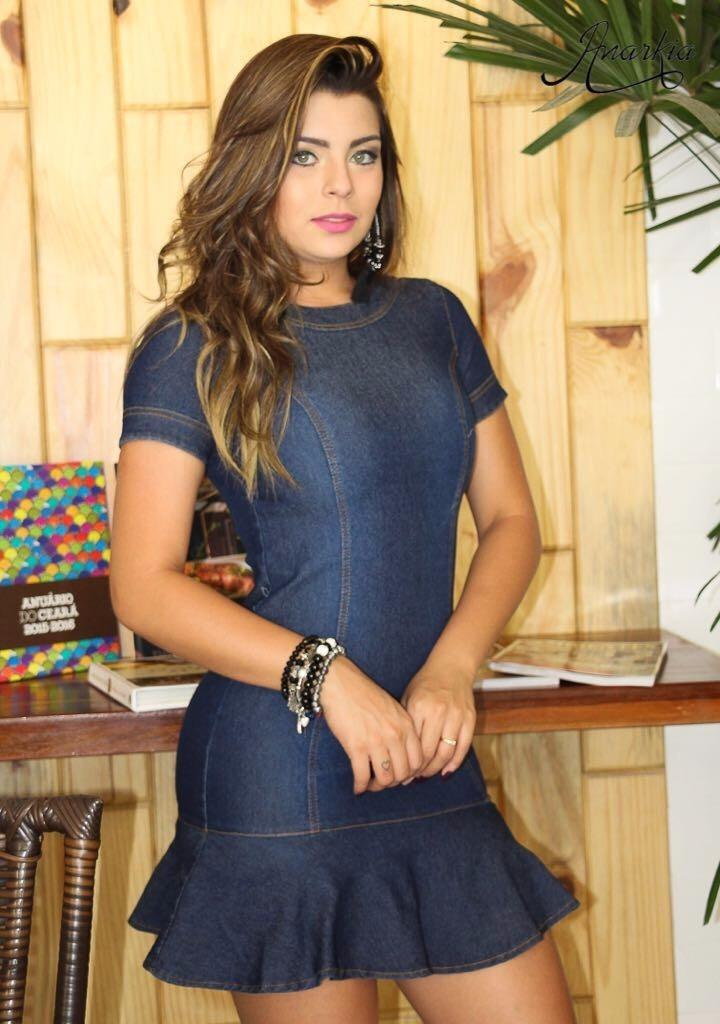 e0572a435 Vestido Jeans Azul Escuro Peplum A Moda Do Momento !! - R$ 114,99 em ...