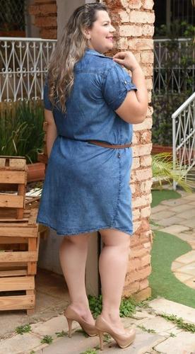 vestido jeans chemise plus size