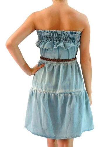 vestido jeans claro feminino tomara que caia verão