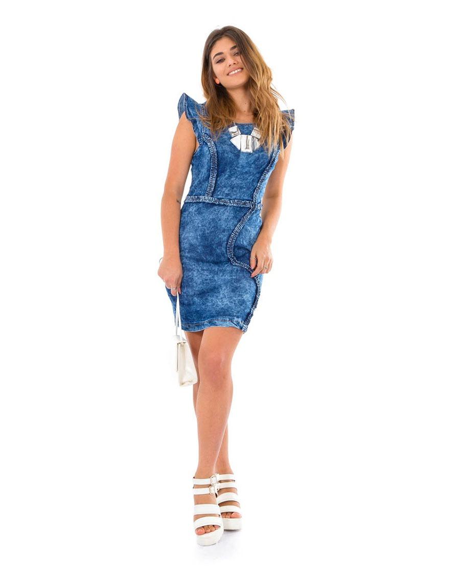 91b6f1f93 vestido jeans com detalhe na frente lycra feminino. Carregando zoom.