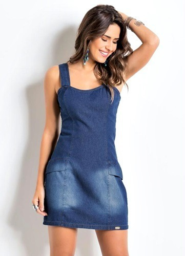 d87bd7035 Vestido Jeans Com Lycra Tubinho Quintess Feminino - R  79