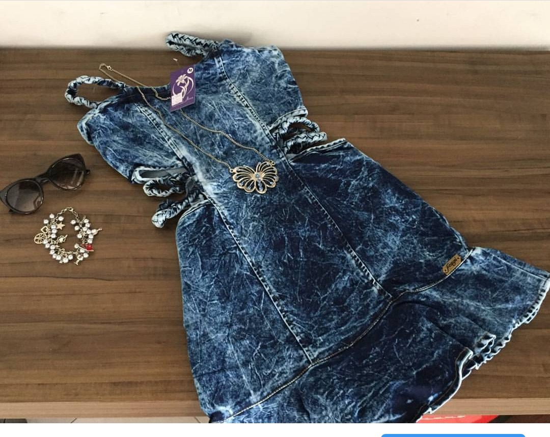 Vestido jeans curto alcas trancado blogueiras instagram juju