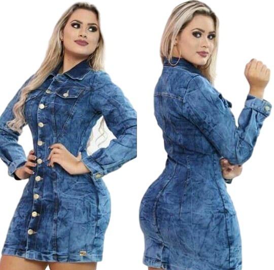 9628e9aca887 Vestido Jeans Curto Colado Com Botões Manga Longa - R$ 79,99 em ...
