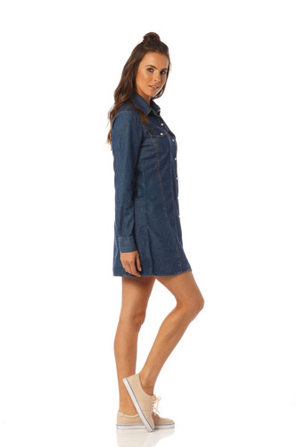vestido jeans curto manga longa denim zero - dz12072