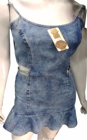 69b260038 Vestido Jeans De Alcinha Aberto Na Cintura Saia Rodadinha - R$ 109 ...
