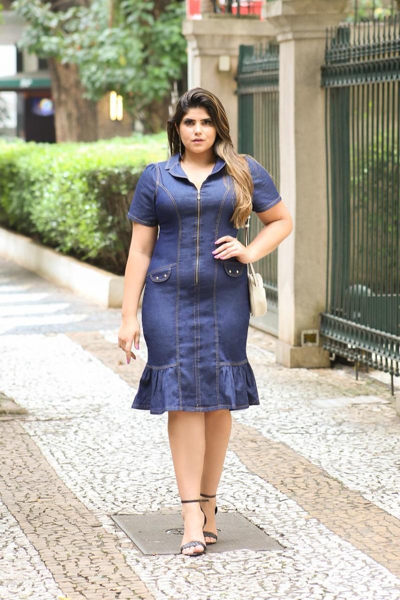 cb2823c06 Vestido Jeans Estilo Plus Size Com Babado Feminino - R$ 159,00 em ...