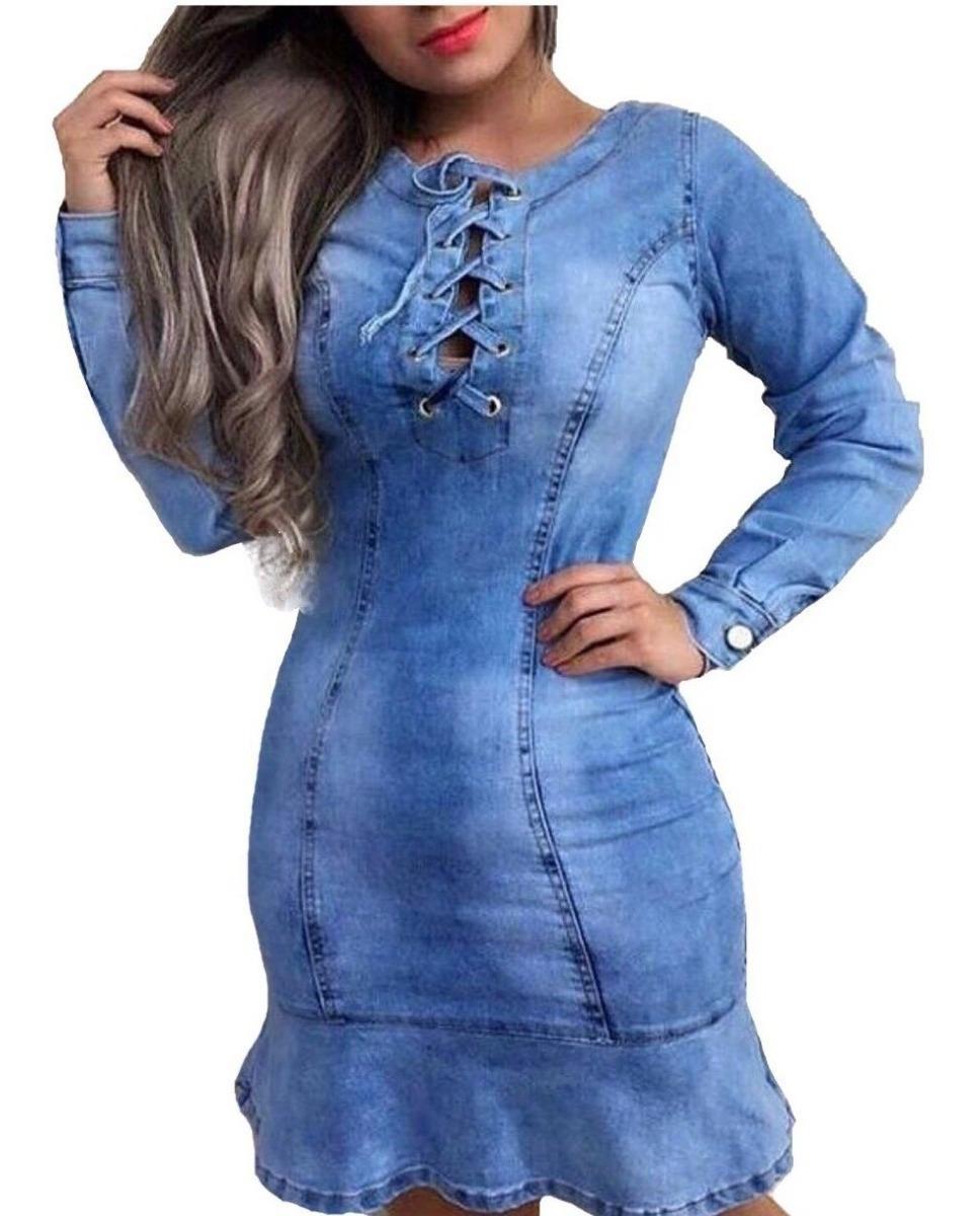 10d00d56baad vestido jeans feminina manga longa instagram moda 2019. Carregando zoom.