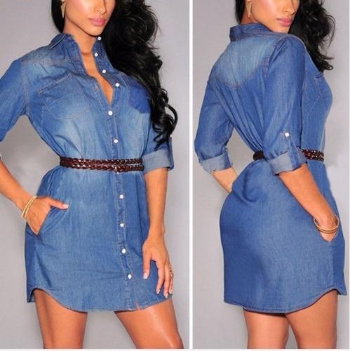 vestido jeans feminino