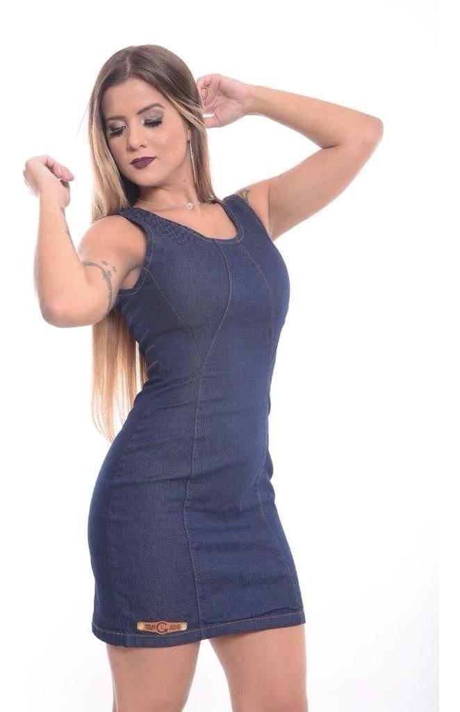 6e041fa07 vestido jeans feminino curto colado alças decote nas costas. Carregando zoom .