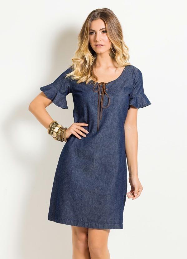 582a177d1 vestido jeans feminino manga com babado decote com amarração. Carregando  zoom.