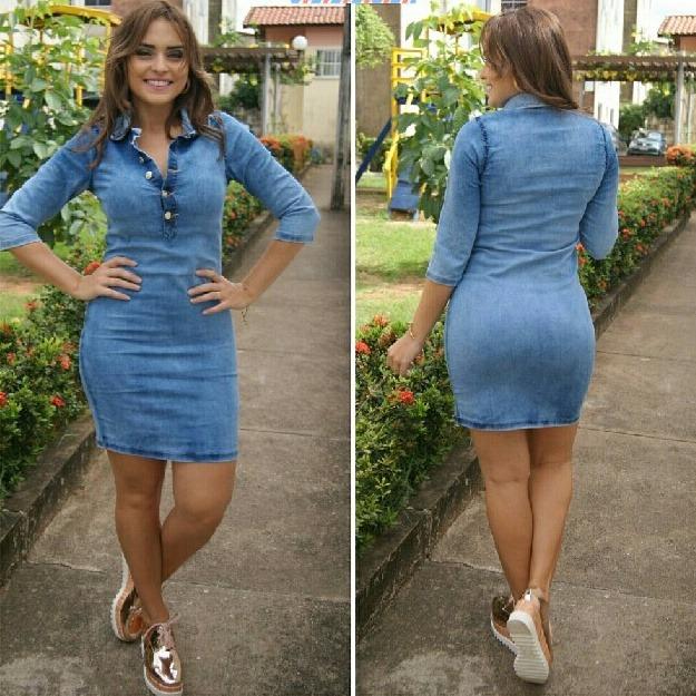 Vestido jeans manga longa feminino